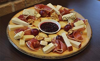 Cheese and cured ham board